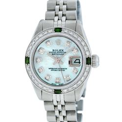 Rolex Stainless Steel Blue MOP Diamond and Emerald DateJust Ladies Watch