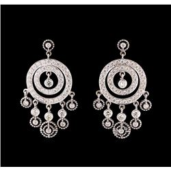4.02 ctw Diamond Earrings - 18KT White Gold