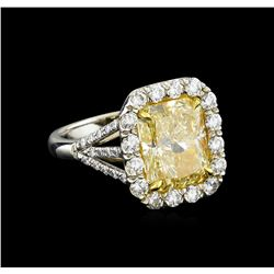 EGL USA Cert 6.79 ctw VVS1 Fancy Yellow Diamond Ring - Platinum