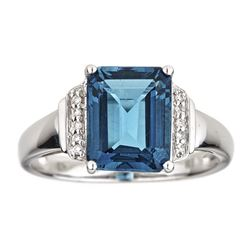 3.88 ctw Topaz and Diamond Ring - 10KT White Gold