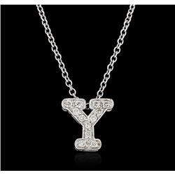 14KT White Gold 0.17 ctw Diamond Pendant With Chain
