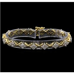 3.50 ctw Diamond Bracelet - 14KT White and Yellow Gold