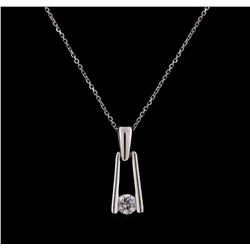 0.25 ctw Diamond Pendant With Chain - 18KT White Gold and Platinum