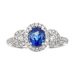 1.22 ctw Sapphire and Diamond Ring - 14KT White Gold