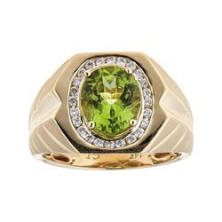 3.55 ctw Peridot and Diamond Ring - 14KT Yellow Gold