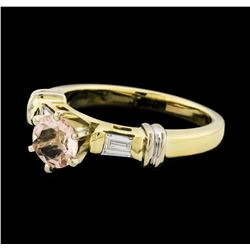 0.63 ctw Morganite and Diamond Ring - 14KT Yellow Gold