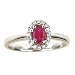 0.51 ctw Ruby and Diamond Ring - 14KT White Gold