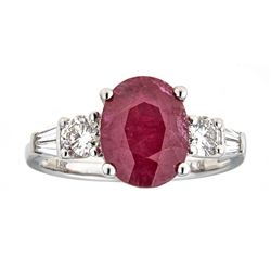 2.84 ctw Ruby and Diamond Ring - 18KT White Gold
