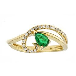 0.31 ctw Emerald and Diamond Ring - 18KT Yellow Gold