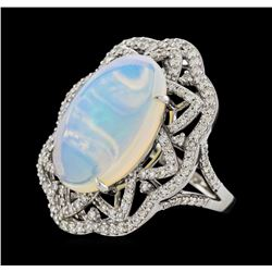 6.16 ctw Opal and Diamond Ring - 14KT White Gold