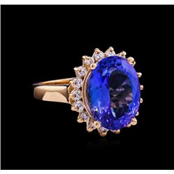 6.70 ctw Tanzanite and Diamond Ring - 14KT Rose Gold