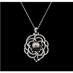 14KT White Gold Pearl and Diamond Pendant with Chain