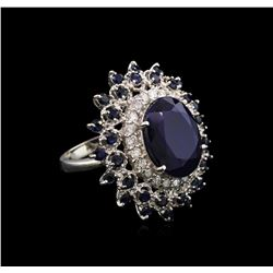 12.85 ctw Sapphire and Diamond Ring - 14KT White Gold