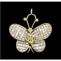 7.00 ctw Diamond Butterfly Pendant - 18KT Yellow Gold