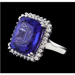 18.13 ctw Tanzanite and Diamond Ring - 14KT White Gold
