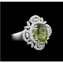 GIA Cert 4.88 ctw Green Sapphire and Diamond Ring - Platinum