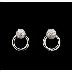 0.11 ctw Diamond Earrings - 14KT White Gold