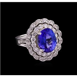 6.05 ctw Tanzanite and Diamond Ring - 14KT White Gold