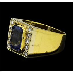 4.17 ctw Sapphire and Diamond Ring - 18KT Yellow Gold