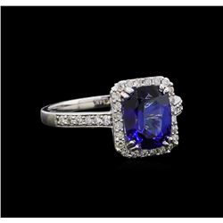 2.27 ctw Tanzanite and Diamond Ring - 14KT White Gold