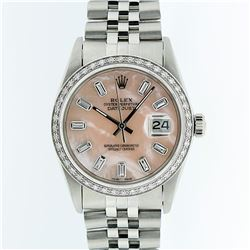 Rolex Stainless Steel Pink MOP Diamond DateJust Men's Watch