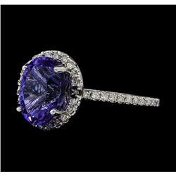 3.90 ctw Tanzanite and Diamond Ring - 14KT White Gold