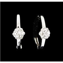0.13 ctw Diamond Hoop Earrings - 14KT White Gold