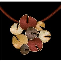 Circle Cluster Pendant Leather Necklace - Rose Gold Plated