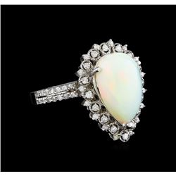 3.90 ctw Opal and Diamond Ring - 14KT White Gold
