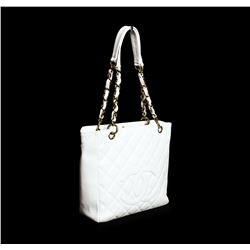 Chanel White Leather Quilted Petite Tote Shoulder Bag