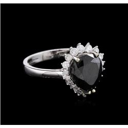 3.57 ctw Fancy Black Diamond Ring - 14KT White Gold
