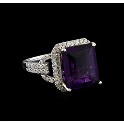 14KT White Gold 5.07 ctw Amethyst and Diamond Ring