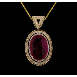 14KT Yellow Gold 21.67 ctw Ruby and Diamond Pendant With Chain