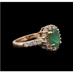 1.19 ctw Emerald and Diamond Ring - 14TK Rose Gold