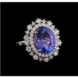 6.40 ctw Tanzanite and Diamond Ring - 14KT White Gold