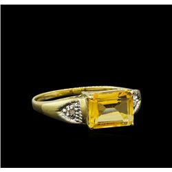 Citrine and Diamond Ring - 9KT Yellow Gold