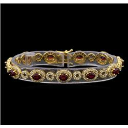 14KT Yellow Gold 6.65 ctw Ruby and Diamond Bracelet