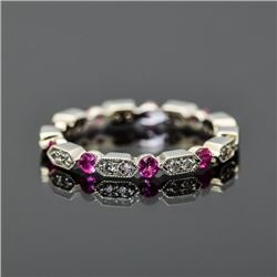 18K White Gold, Diamond and Ruby Ring