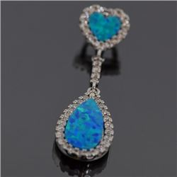 Sterling Silver and Synthetic Blue Opal Pendant