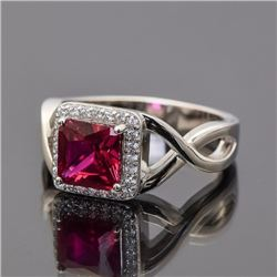 Sterling Silver and Synthetic Ruby Ring