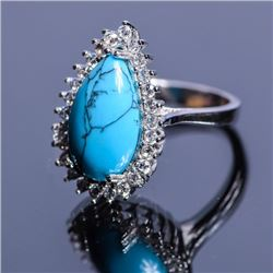 Sterling Silver CZ Ring with Pear Shape Turquoise
