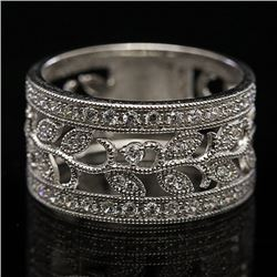 Sterling Silver and Cubic Zirconia Split Shank Band