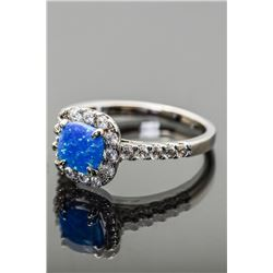 Sterling Silver and Blue Opal Halo Ring