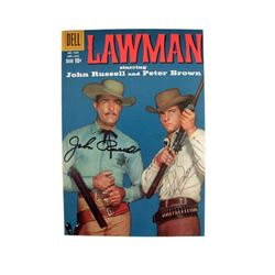 Lawman John Russell and Peter Brown Autographed Magazine Movie Memorabilia