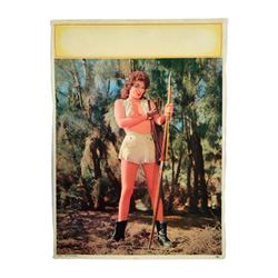 "Pinup Calendar Original Salesman's Sample Native American Girl Litho ""Aim To Please"" 1959"