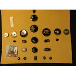 Large Collection of inlayed buttons, which 'Doc' sold for choice of $25 each. (22 pcs.)