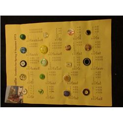 """la petite Leaders for Spring & Summer 1973"" Sample Button Sheet. Contains (19) Buttons."