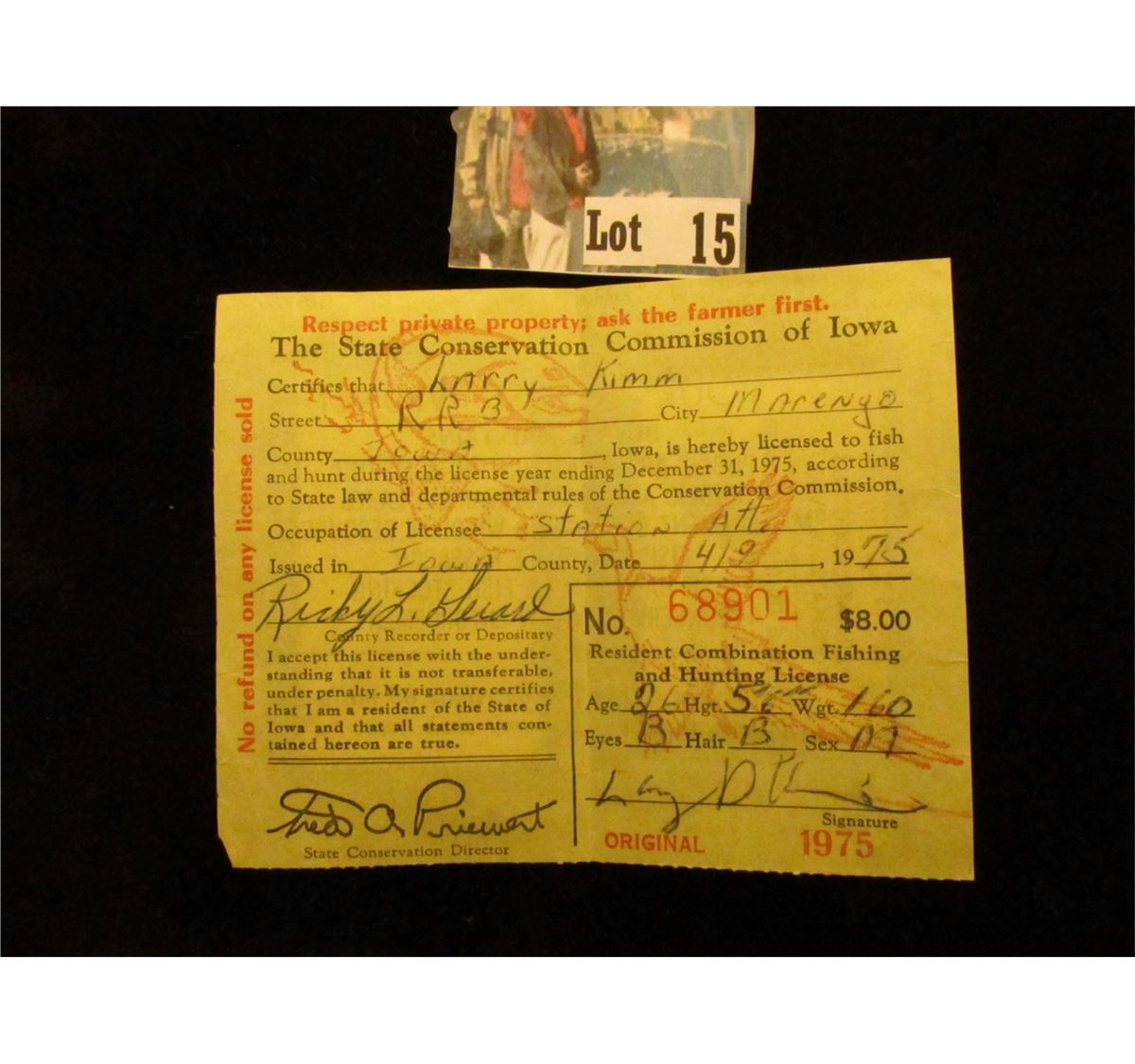 1975 iowa hunting license with both rw42 federal migratory for Iowa fishing license 2017