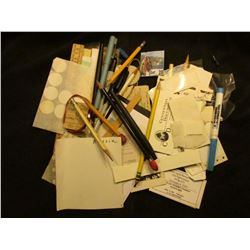 Various Office Supplies, business Cards, plastic coin album slides, and even a Gold-colored Ingot, u