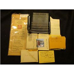 "Group of ""Temporary Dues Receipt Waterloo Townsend Recovery Club No.1"" Cards; Lucite Tarafold; & 191"